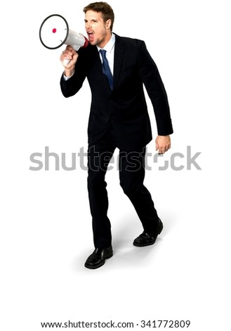 Angry Caucasian man with short medium blond hair in business formal outfit using megaphone - Isolated