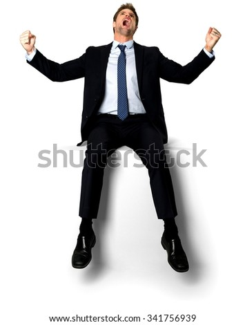 Angry Caucasian man with short medium blond hair in business formal outfit with arms open - Isolated - stock photo