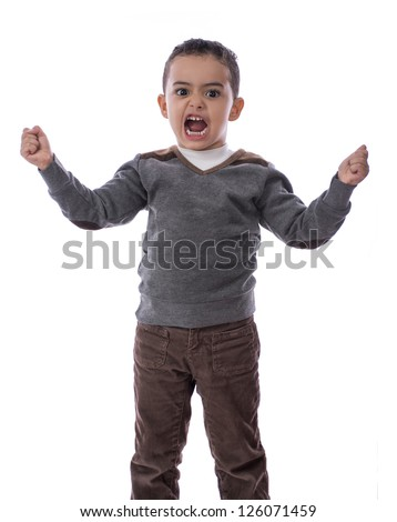 Angry Child Boy Isolated on White Background - stock photo