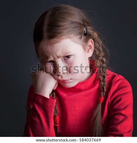 Angry child portrait - stock photo