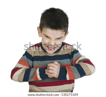 Angry child. White isolated - stock photo