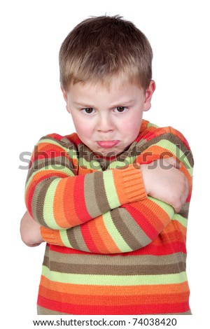 Angry child with crossed arm isolated on white background - stock photo