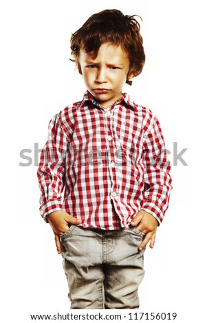 Angry child with hands in pockets. Child with plaid shirt isolated on white background - stock photo