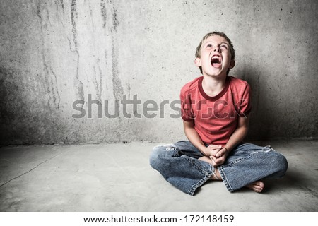 Angry Child Yelling - stock photo