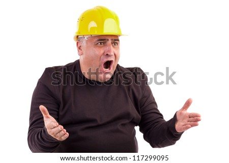 Angry construction worker looking at something isolated on white background