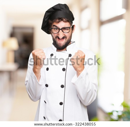 angry cook man disagree sign