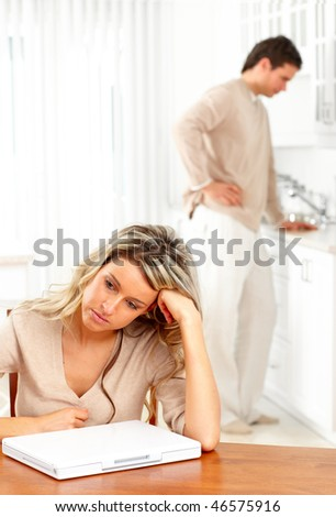 Angry couple at home. - stock photo