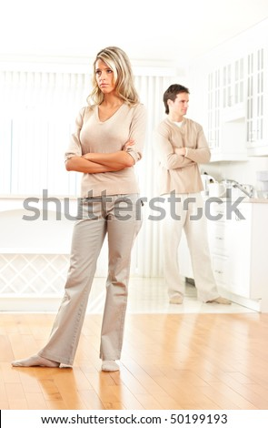 Angry couple at home. Divorce - stock photo