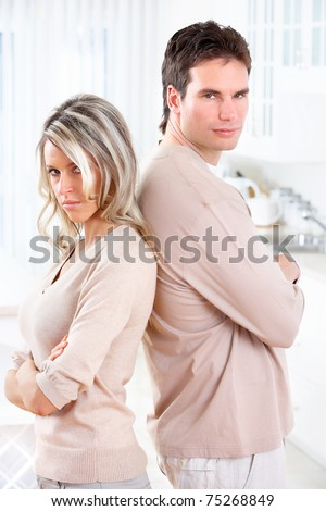 Angry couple at home. Divorce. Family problems. - stock photo