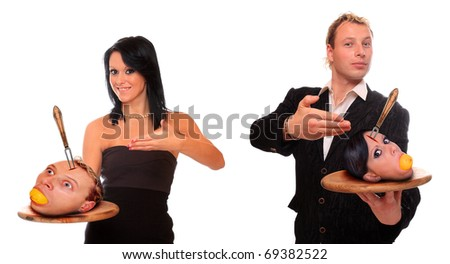 Angry couple. Divorce metaphor. - stock photo
