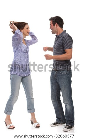 Angry couple yelling at each other - stock photo