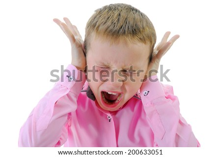 Angry crying little boy. Isolated on a white background