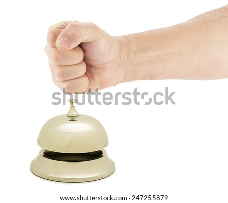 Angry customer concept - Fist hitting service bell isolated on white background.