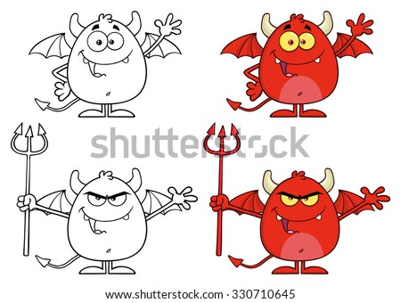 Angry Devil Cartoon Character Holding A Pitchfork. Raster Collection Set - stock photo