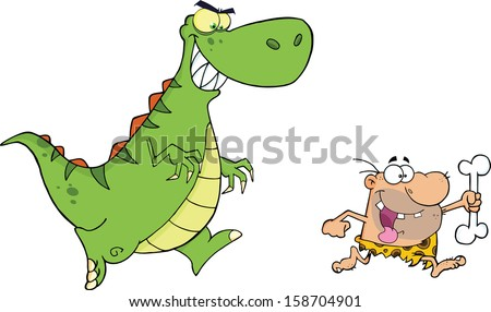 Angry Dinosaur Chasing A Caveman. Raster Illustration Isolated on white - stock photo