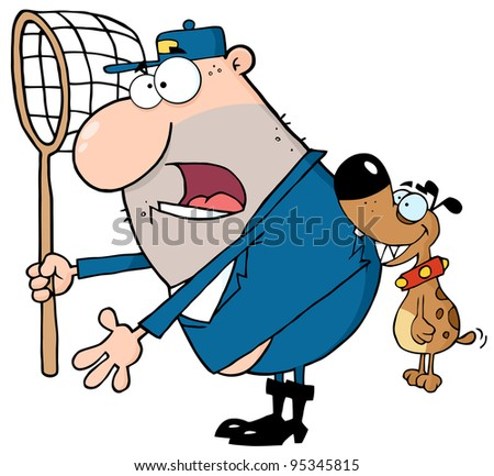 Angry Dog Biting A Dog Catcher - stock photo