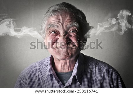 Angry elderly man  - stock photo