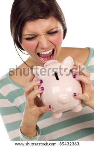 Angry Ethnic Female Yelling At Her Piggy Bank Isolated on a White Background. - stock photo