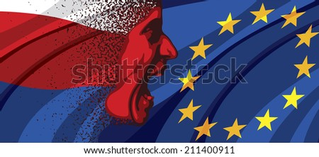 Angry face of Russia to Europe - stock photo