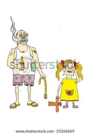 angry father and crying daughter - stock photo