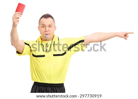Angry football referee showing a red card and pointing with his hand isolated on white background - stock photo