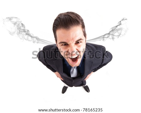 Angry frustrated businessman with exploding head - stock photo
