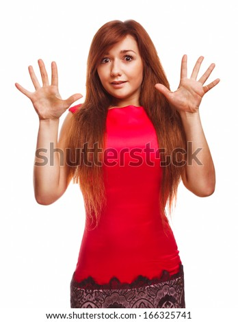 angry girl dissatisfied young woman haired girl emotion isolated on white background - stock photo