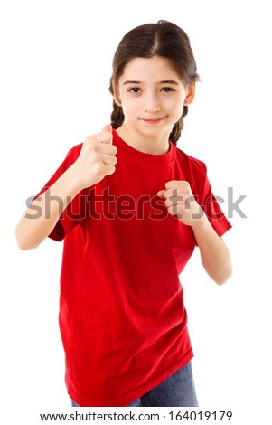 Angry girl showing his fists, isolated on white - stock photo