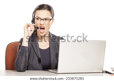 angry girl with headset, a quarrel with someone - stock photo