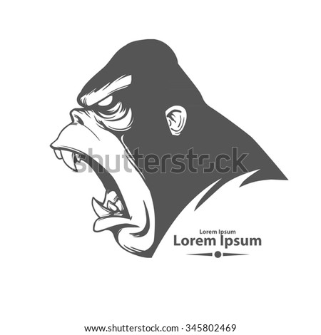 angry gorilla head, profile view, logo, mascot, emblem for sport team, simple illustration, monster screaming - stock photo