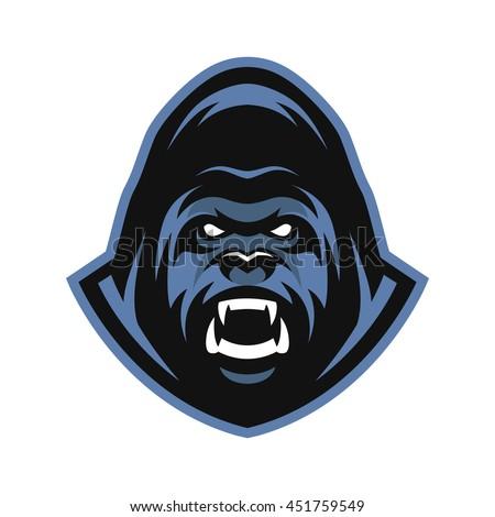 Angry Gorilla symbol, emblem, sport logo. - stock photo