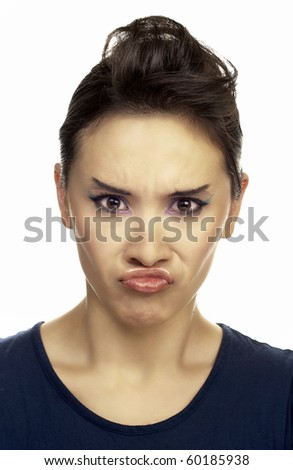 angry grimace - stock photo