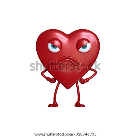 angry heart cartoon character, 3d digital illustration isolated on white background