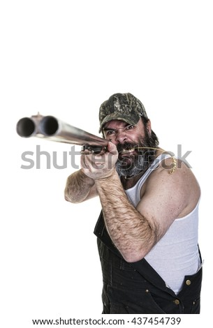 Angry hillbilly aiming a shotgun on a white background. - stock photo