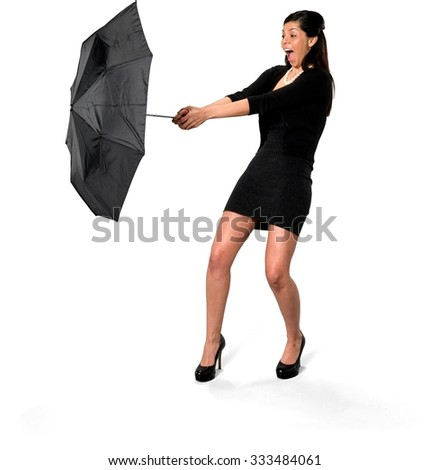 Angry Hispanic young woman with long dark brown hair in casual outfit holding umbrella - Isolated