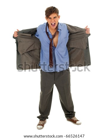 angry homeless businessman in grey, over-sized suit