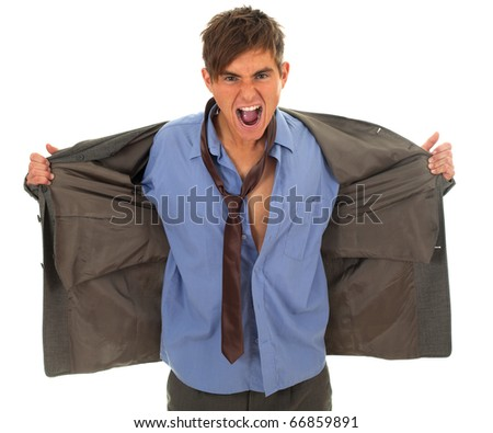 angry homeless businessman in grey, oversized suit