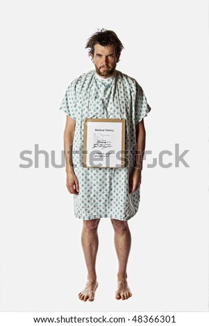 angry hospital patient isolated with clipping path - stock photo