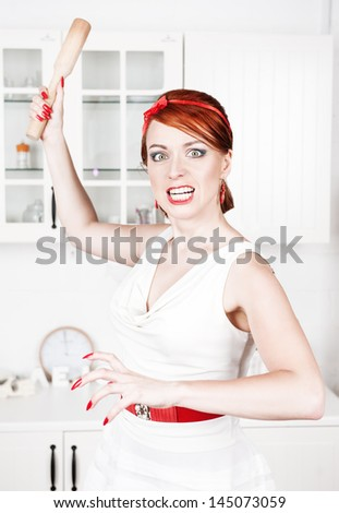 Angry housewife - stock photo
