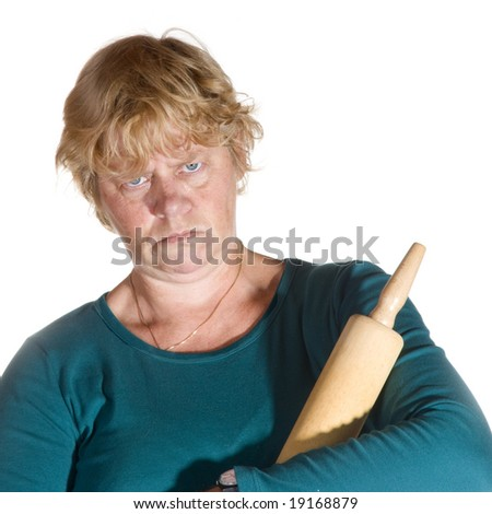 Angry housewife with rolling pin