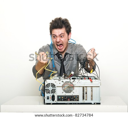 Angry It supporter gone mad - stock photo