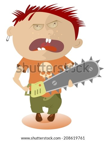 Angry kid holding a chainsaw illustration - stock photo