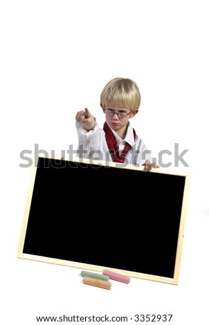 Angry kid with black-board to write your message on - stock photo