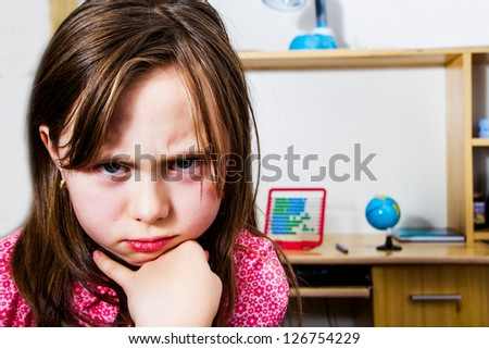 Angry little girl - stock photo