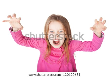 angry little girl growls isolated on white background - stock photo
