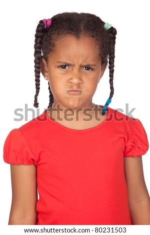 Angry little girl isolated on a over white background - stock photo