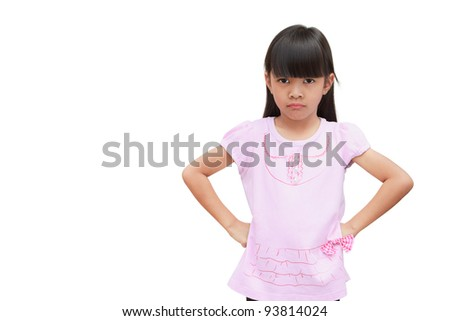 Angry little girl, Isolated on white - stock photo