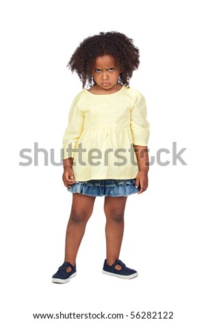 Angry little girl with beautiful hairstyle isolated over white - stock photo