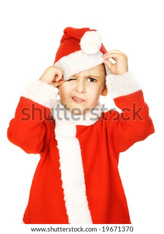 Angry little Santa Claus - stock photo