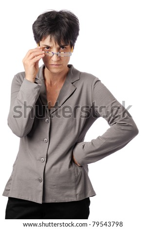 Angry looking female teacher . isolated on white background - stock photo